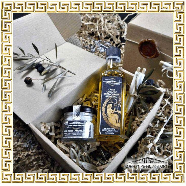 Gift box contains. Extra virgin organic olive oil 60ml  - FLEUR DE SEL–AFRINA - Organic herbs 30ml