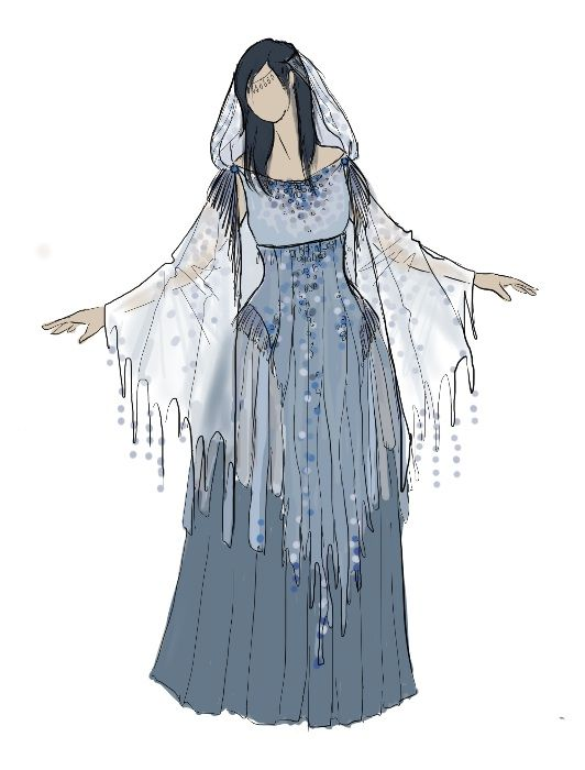 The Rain costume sketch by IzzyLawlor: DOTHRAK older women with pants/leggings instead of the skirt