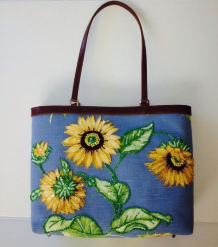 Isabella Fiore Blue Beaded Sequin Sunflower Tote Bag ...