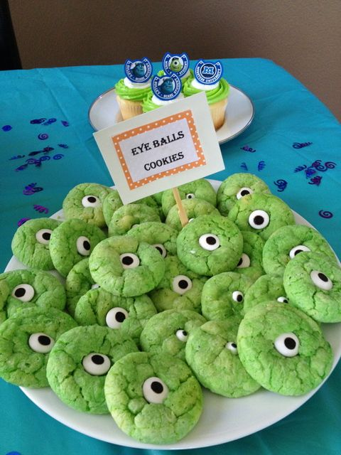 Monsters Inc Birthday Party cookies!  See more party ideas at CatchMyParty.com!
