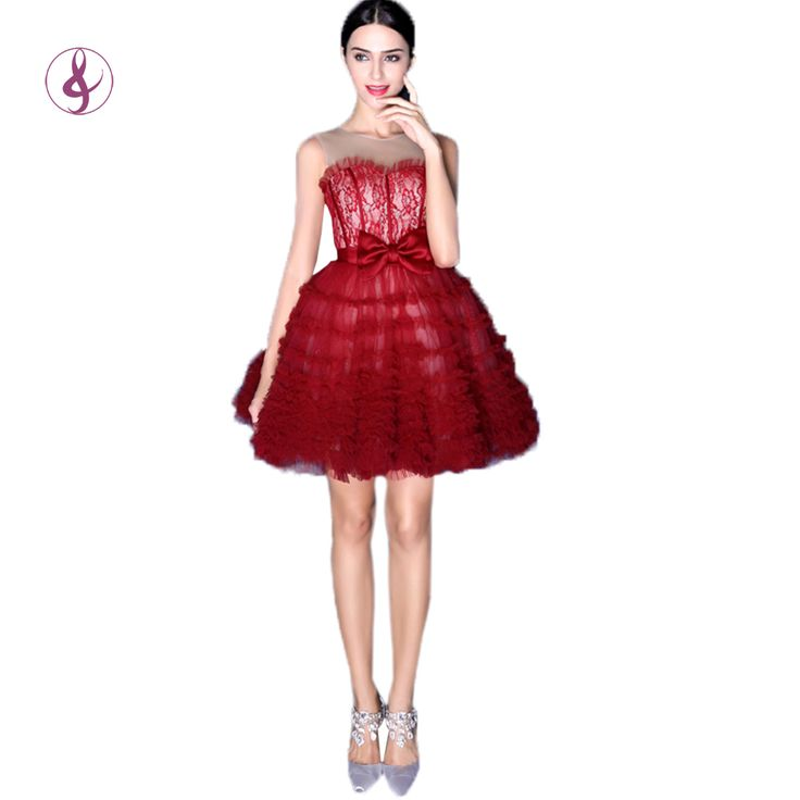 TSJY2490 Barato vestidos de fiesta envío rápido 2015 en 100 vestido de regreso a casa corsé volver puffy corto de encaje rojo vestidos de baile(China (Mainland))