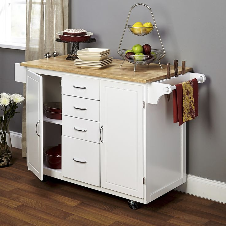 35 Kitchen Island Designs Celebrating Functional And: Cottage Country Wood Top Kitchen Cart - TMS
