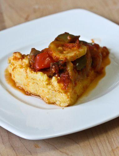 Roasted vegetable polenta pie. | Recipes | Pinterest
