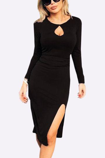 Мода черный круглый шеи Cut Out Slipted Хем Bodycon платье