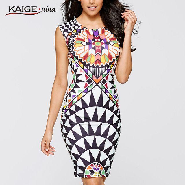 Kaige.Nina New Summer None Print Sleeveless Sheath O-Neck Natural Knee-Length Dress Sexy Casual 2249