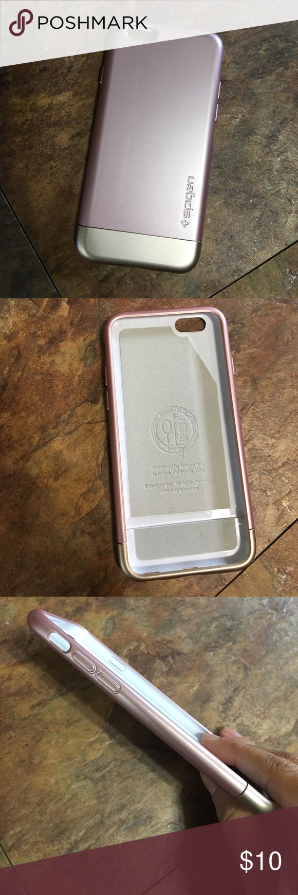 Spigen iPhone 6s rose gold/gold case NWOT Spigen iPhone 6s rose gold/gold case. Bottom part slides off to hug the iPhone and is really slim! Spigen Accessories Phone Cases