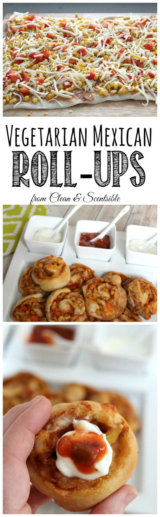 These vegetarian Mexican roll ups are done from start to finish in about 30 minutes. Perfect for a quick and easy dinner idea or party appetizer! // cleanandscentsible.com