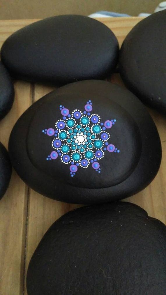 Mandala stone, purple and teal on black