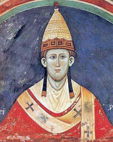 1198-1216.Innocentius III S Spiritus. Innocent III at Monastero del Sacro Speco (Subiaco).c.1216-19. Unattributed photo in J.C.Moore, Pope Innocent III (2003);anonymous 13th cent.painting.