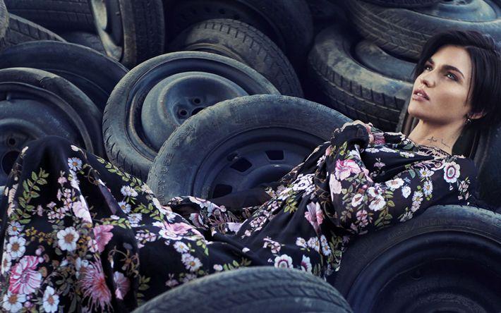 Download wallpapers Ruby Rose, australian model, portrait, brunette, beautiful woman, car tires, Ruby Rose Langenheim