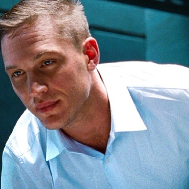 """Oh my it's that damn blue shirt again on the gorgeous & """"My God"""", Tom Hardy. I'm sorry bcuz I know I pinned this already along with a few more of Tuck in this shirt & the black shirt while he's sitting at his desk in """"This Means War"""" & idk how they all got past Pinterest's """"Reminder/Warning/Psst"""" you already pinned this to your """"Hot & ❤y"""" board, no regrets here! My goodness help my ovaries, lol... He's GORGEOUS!"""