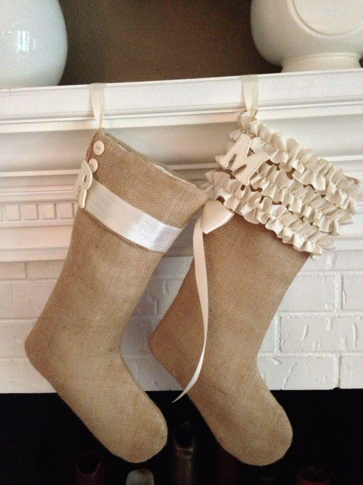 Handmade Burlap Stockings Grosgrain Triple by ElegantCottageStyle, $35.00