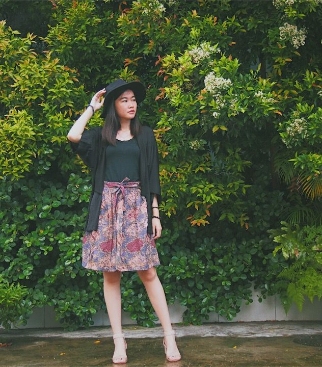 Tops, Skirt, Bracelets - Unbranded | Kimono Outer - Berrybenka.com (local shop) | Hat - Fabs.Id (local brand) | Shoes - Donatello (local brand) #fashion #personalstyle