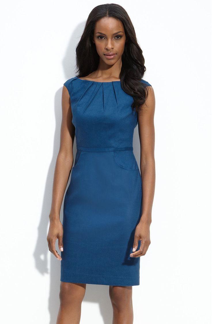Adrianna Papell Pleat Neck Linen Blend Sheath Dress (Petite)