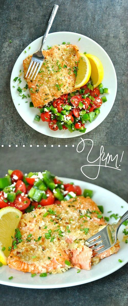 Panko + Herb-Crusted Dijon Salmon :: quick, easy, and so perfect for a light and healthy dinner