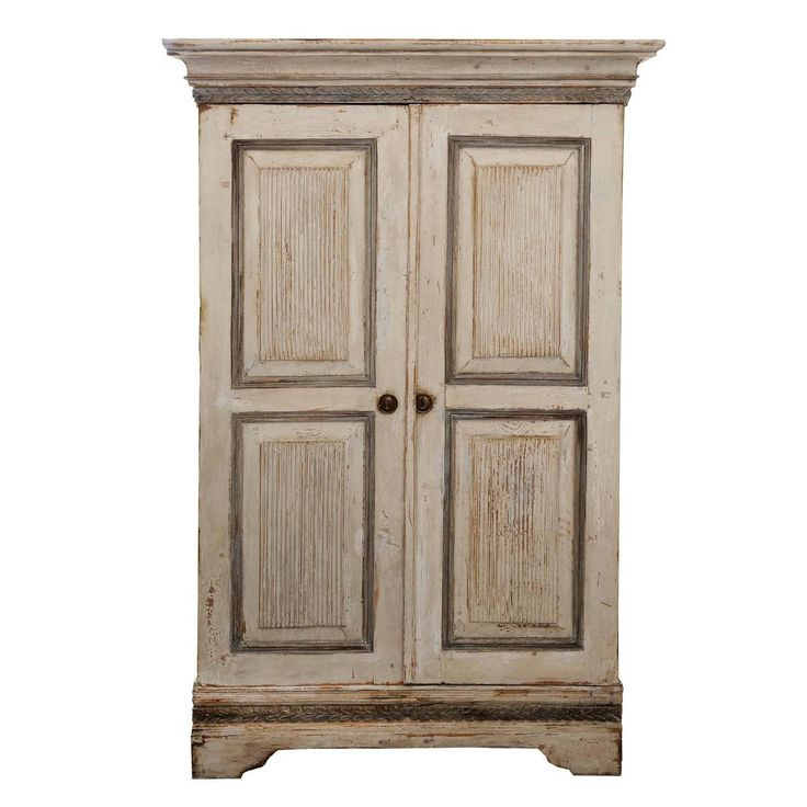 Tall Gustavian Period Painted Cupboard, circa 1790. Tall Swedish Gustavian period neoclassical grey and white painted cupboard with fitted interior and dry scraped back to its original paint, circa 1790