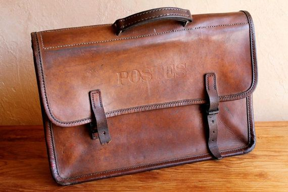 Vintage Postal Brown Leather Bag, Mail Bag French La Poste