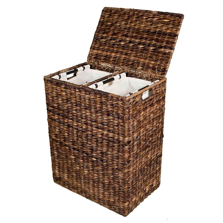 BirdRock Home Abaca Divided Laundry Hamper (Hand Woven Machine Washable Cotton Canvas Liners Double Hamper Regular), Brown (Rattan)