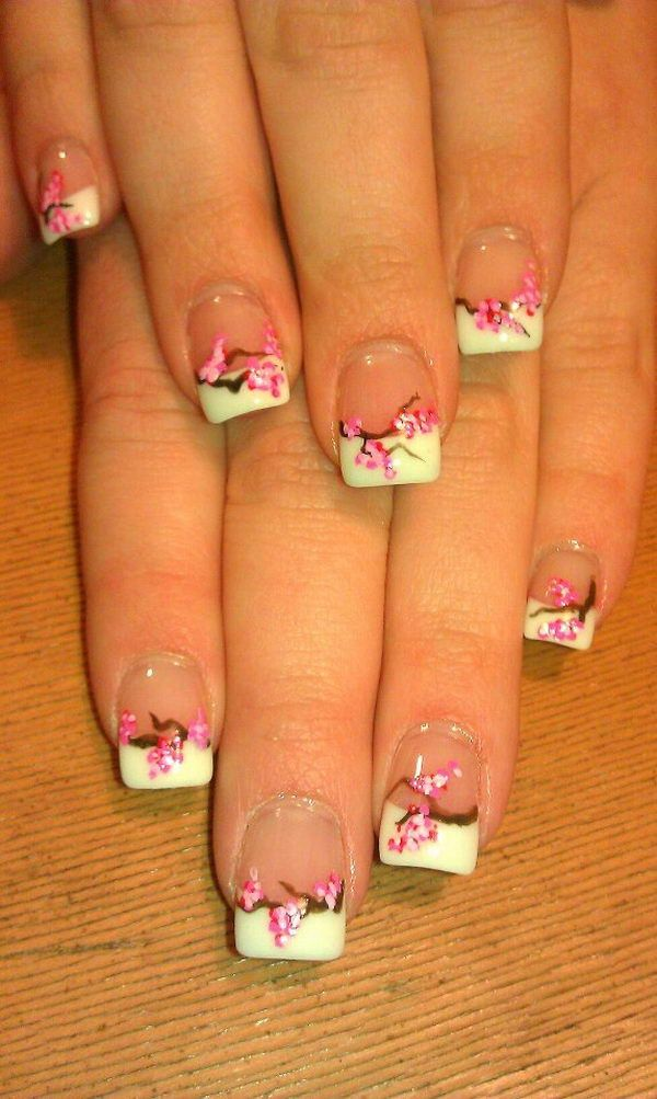 Pretty Flower Nail Art. These flower designs are so cute and make a regular manicure look like a piece of artwork. http://hative.com/pretty-flower-nail-designs/
