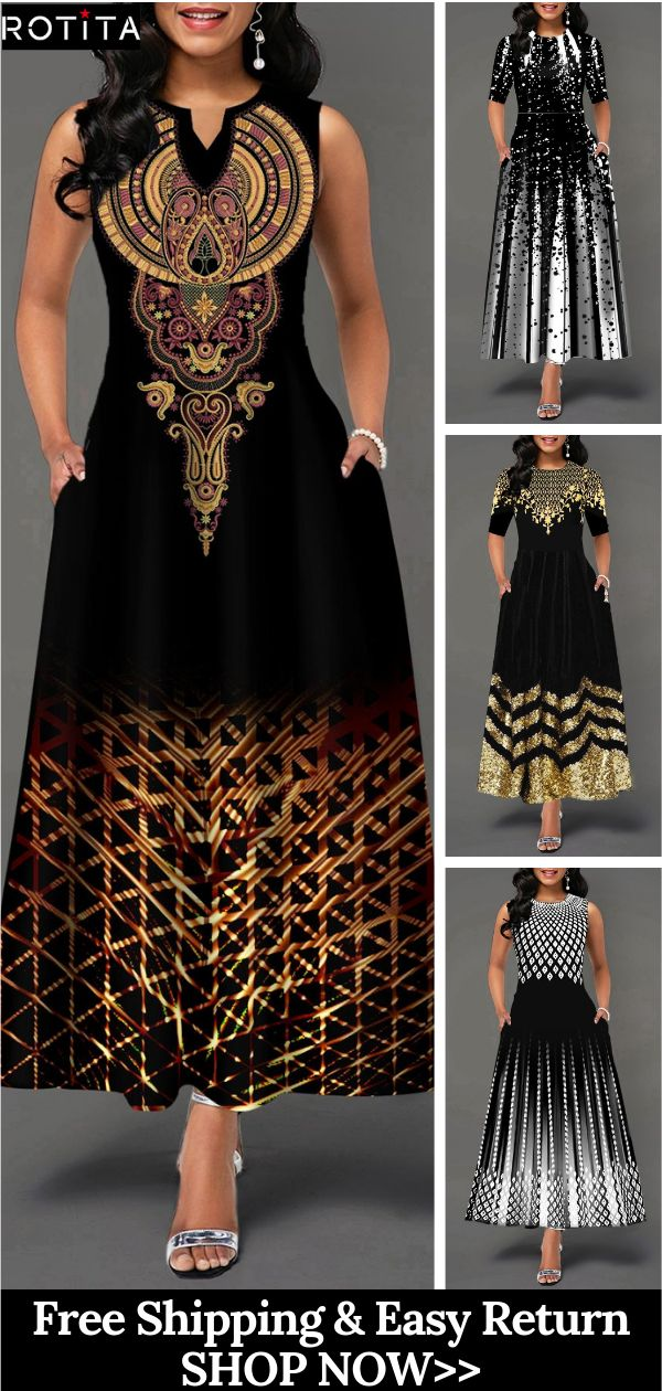 4+ Womens Fashion Printed Maxi Dress Outfits Trends 1
