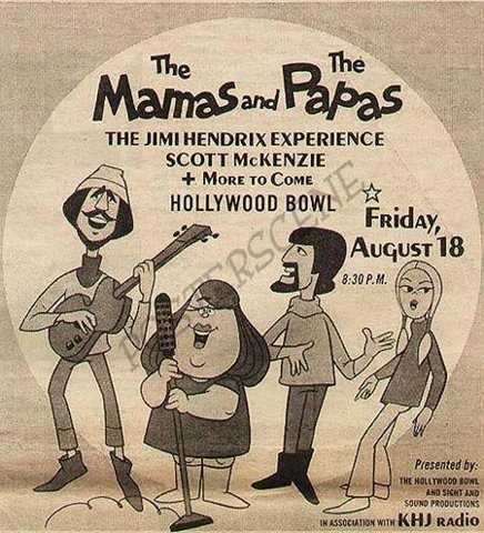 LOS ANGELES - HOLLYWOOD HILLS: Ad for The Mamas and The Papas, performing at The Hollywood Bowl, 1965.