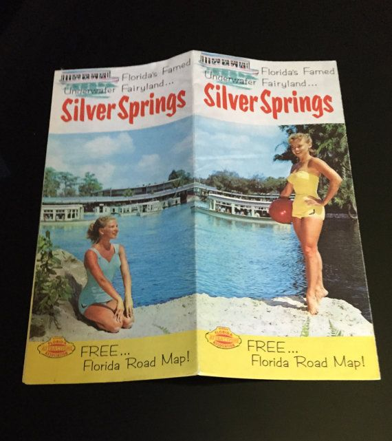 This is a travel brochure for Silver Springs, Florida: Floridas famed underwater fairyland This is such a fantastic piece of kitsch that really gives you a glimpse back into a different time and place! It also has a road map of the state of Florida with wonderful photos and illustrations. It is in excellent vintage condition with very little wear and bright beautiful colors and no markings.