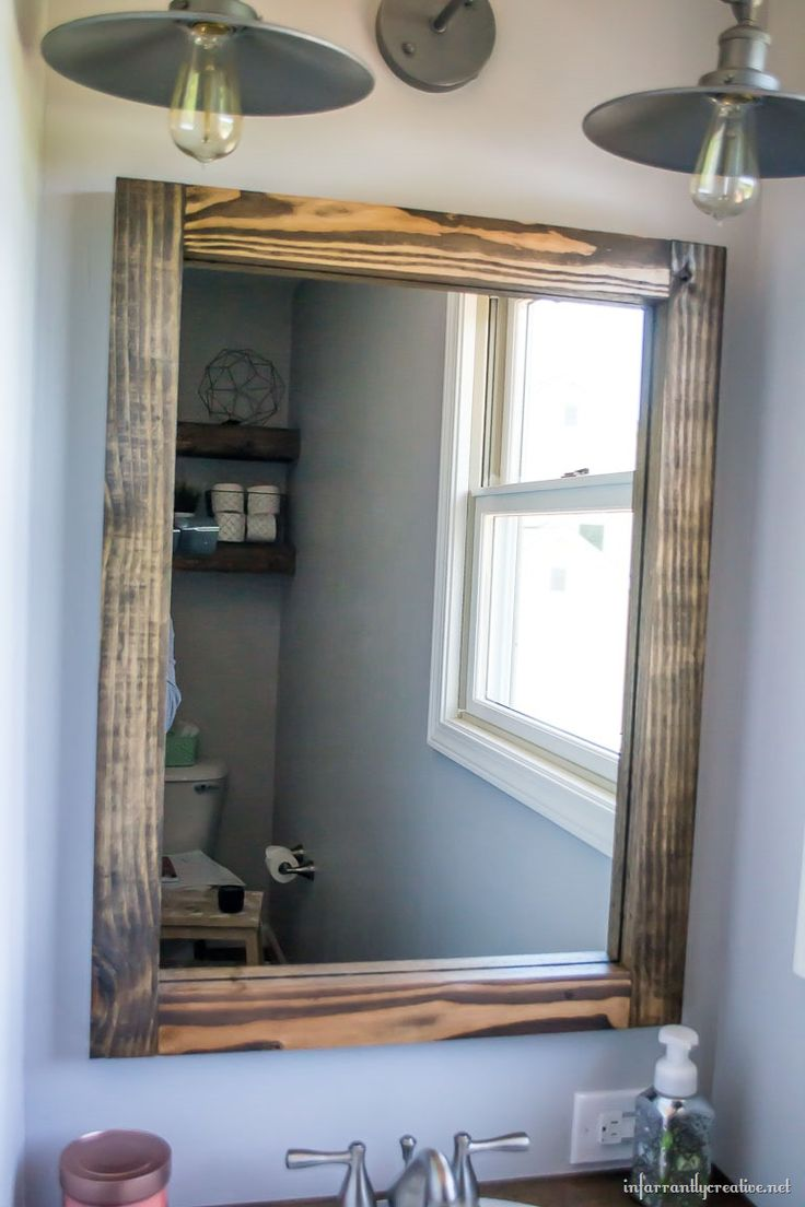 Industrial Wood Mirror ~ Build a wood mirror for FREE using scrap wood! See how simple it is and even learn a new skill - how to cut a rabbet in wood.