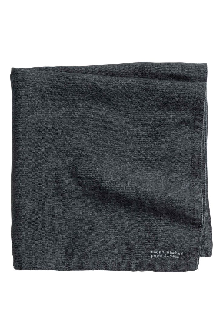 Serviette en lin lavé - Gris anthracite - Home All | H&M FR