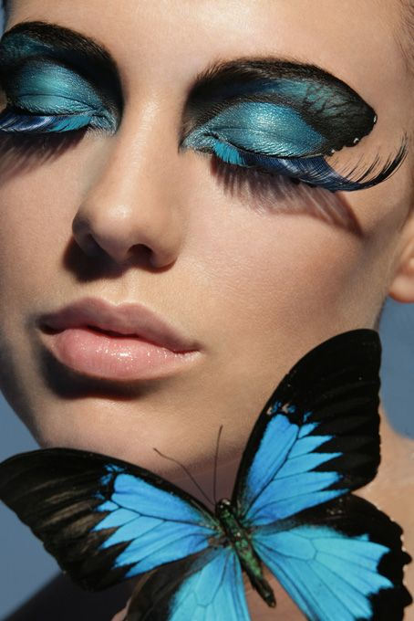 blue butterflies: Face, Make Up, Eye Makeup, Butterflies, Blue Butterfly, Color, Butterfly Eyes, Butterfly Makeup, Beauty