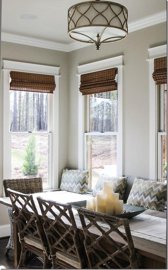 Dark Roman Shades With Curtains
