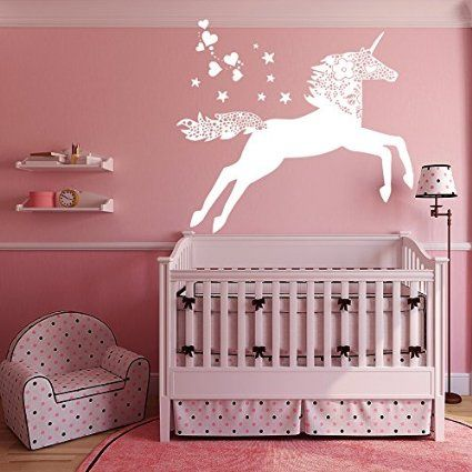 Wall decals unicorn horse doodle nature vinyl for Room decor 5d stickers