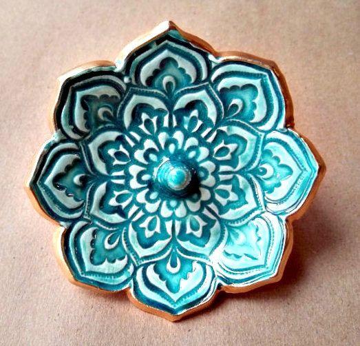 Or Lotus bague porte bol céramique tranchant Malachite vert 3 1/4 pouces de tour