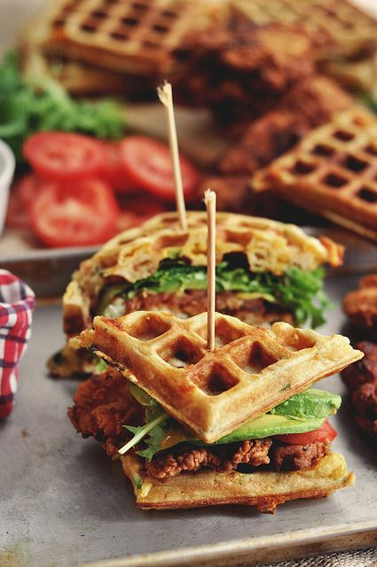 Bacon Cheddar Green Onion Waffles and Buttermilk Fried Chicken. The world's best sandwich ever known to man and woman.