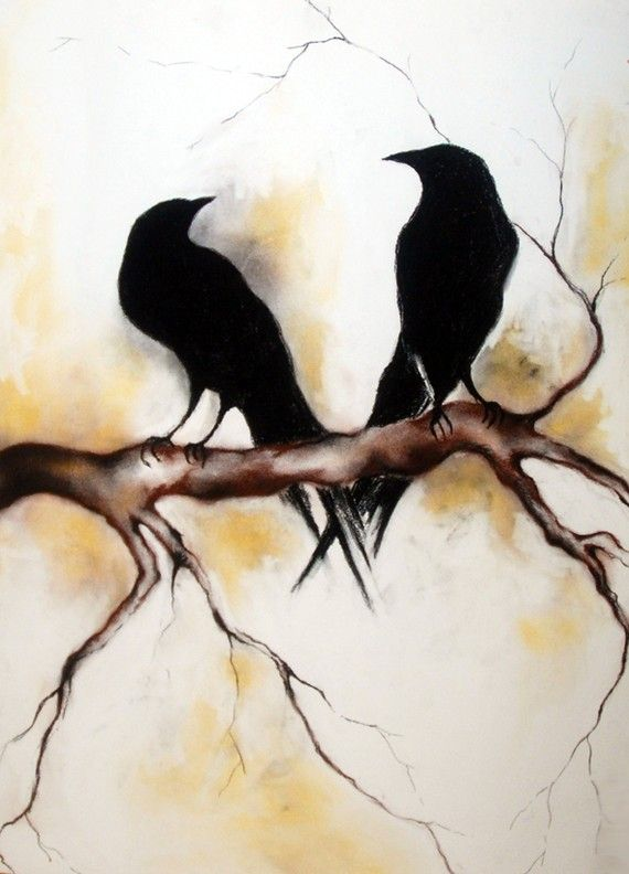 Ravens - original charcoal drawing, decorative , LARGE       Natureandart   Original art by Maria Kitano