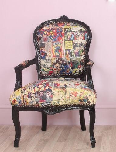 Louis Black Frame Vintage Superman / Superhero Comic Book Barber / Tattoo Chair