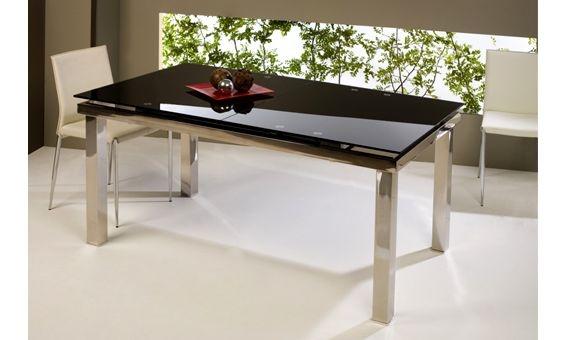 Mesa extensible de cristal negro y acero 140x90x76: Tables, Mesas Extensible
