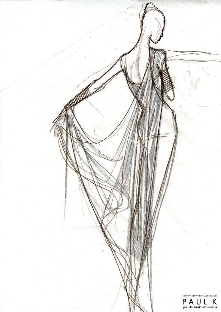 Fashion Sketch - draped dress, fashion illustration // Paul K