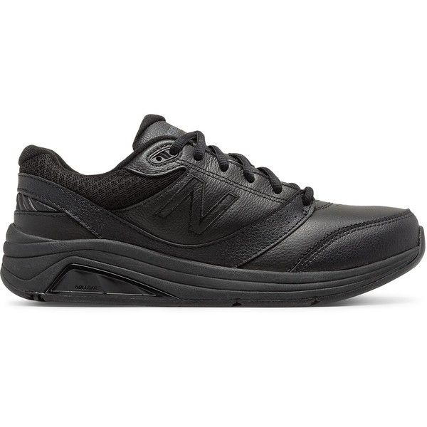 New Balance Leather 928v3 Women's Health Walking Shoes ($135) ❤ liked on Polyvore featuring shoes, athletic shoes, black, new balance footwear, black leather shoes, real leather shoes, leather walking shoes and leather footwear