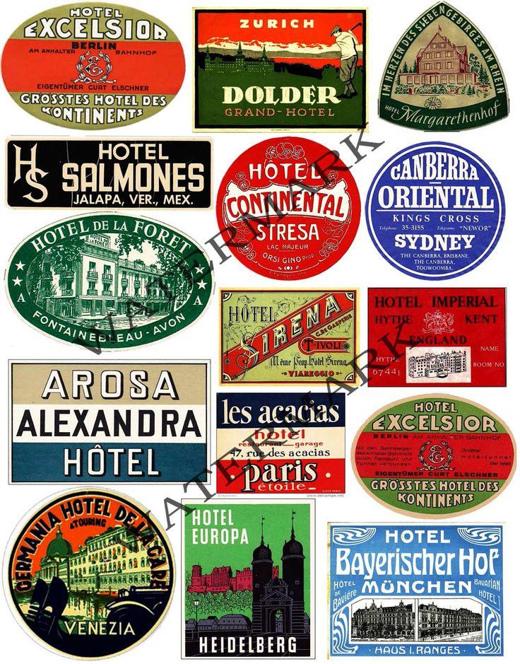 Hotel label clip art huge sticker set luggage labels vintage collage altered