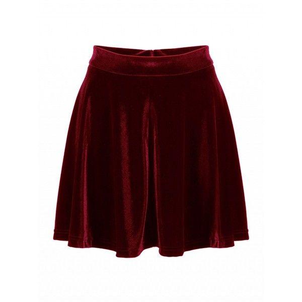 Choies Burgundy High Waist Velvet Skater Skirt ($20) ❤ liked on Polyvore featuring skirts, red, circle skirt, velvet skirt, red velvet skirt, red flared skirt and high-waisted skater skirts