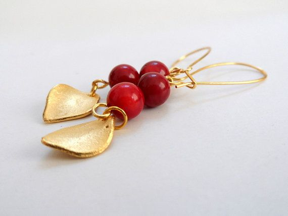Gold Plated Leaf Earrings Dangle Earrings Coral Red by byshushu, $25.00