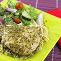 Crock Pot Pesto Ranch Chicken! 4 Ingredients, 6-8 hours on low, serve with rice.