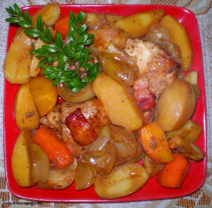 Kurczak pieczony z warzywami i ziemniakami z Garnka rzymskiego : - Kurczak pieczony z warzywami i ziemniakami z Garnka rzymskiego :