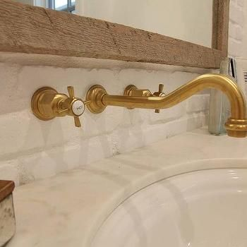 Wall Mount Vintage Antique Brass Gooseneck Faucet Over