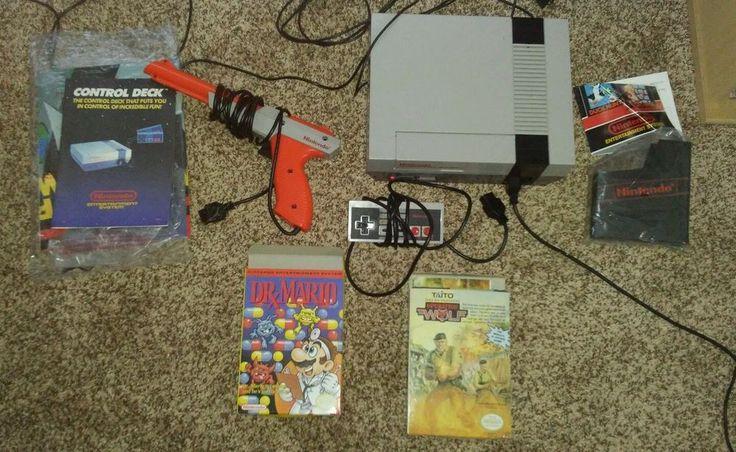 Nintendo NES Game Console w/Gun 3 games Super Mario duck hunt, dr.mario, Wolf  #Nintendo