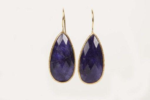 Earrings E00018 Gold plated Silver 925° stone Lapis  Lazouli
