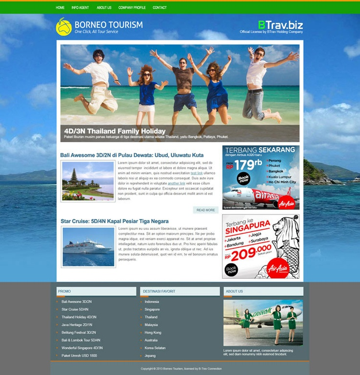 Theme and layout design for B-Trav Tour Members.
