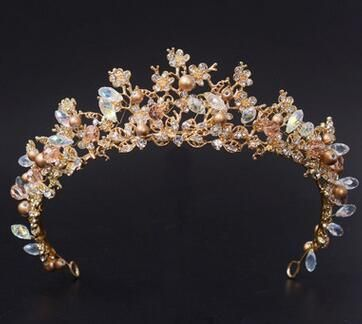 Magnificent Diadem Clear Crystal Bridal Tiaras Flower Wedding Crown for Bride Wedding Pageant Hair Accessories