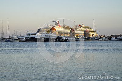 Ships and boats in port in Rodhes town , Rodhes Island , Greece.