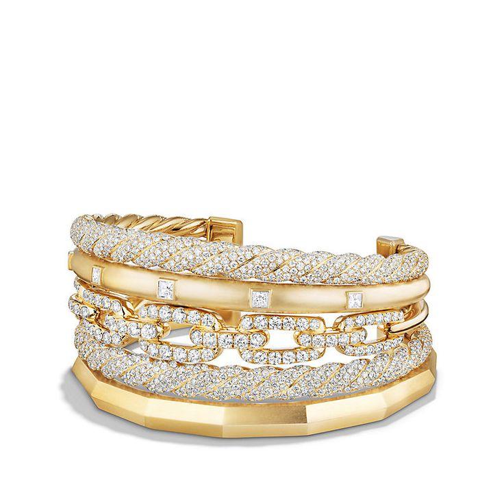 david yurman stax five row cuff bracelet with diamonds in 18k gold 35mm